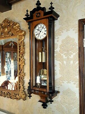 Antique 2 weight Vienna regulator wall Clock by H.Endler & Co walnut case.