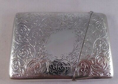 Good Large Size Antique Solid Silver Card Case Birmingham 1901