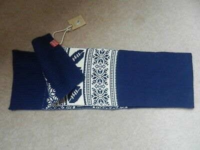 Bnwt Joules Junior Fairisle Scarf- Navy & Cream New