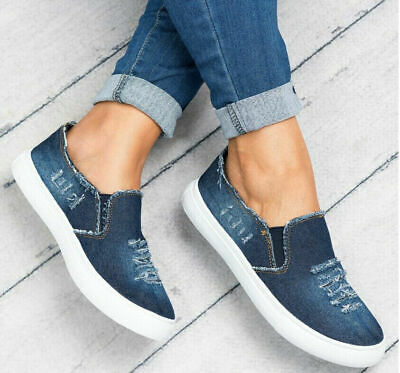 Womens Denim Flat Slip On Pumps Trainers Shoes Loafers Sandals Ladies Shoes Size