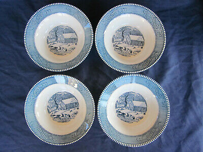 "Set of 4 blue & white Currier and Ives Royal China 6 1/4"" cereal bowls"