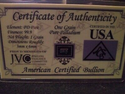 ACB  Palladium BULLION MINTED 1GRAIN BAR 99.9 Pure PD SOLID With Certificate