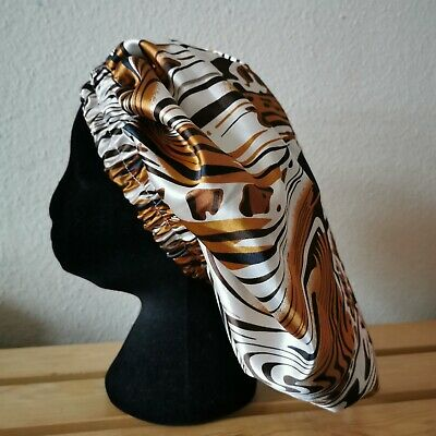 New Handmade Caramel Brown, Black and Cream Satin Lined Sleep/Lounge Caps
