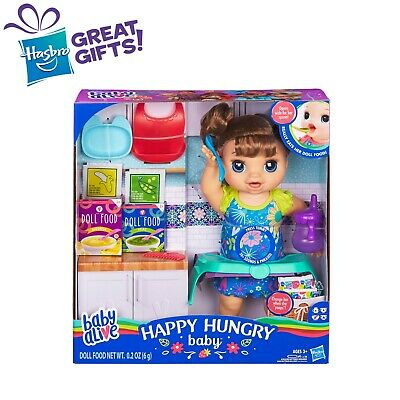 Baby Alive Happy Hungry Baby Brown Straight Hair Doll, Eats Poops Talks