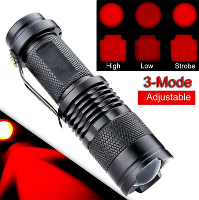 Red LED Flashlight Zoomable Focus Torch Stars Aviation Astronomy Red Light Lamp