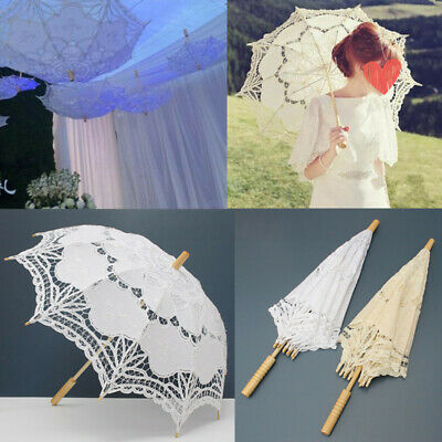Vintage Lady Embroidery Cotton Lace Parasol Umbrella Wedding Bridal Party Decor