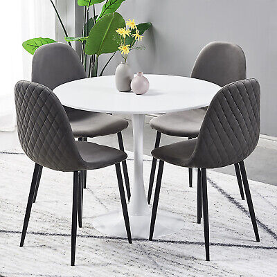 Retro Small Round Dining Table and 4 Velvet Fabric Chairs Black Metal Legs Sets