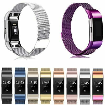 For Fitbit Charge 2 Strap Metal Stainless Steel Milanese Loop Wristband Band