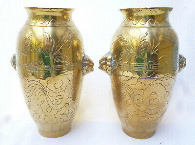 ANTIQUE PAIR ENGRAVED HEAVY BRASS CHINESE VASES - Big 20cm high - excellent cond
