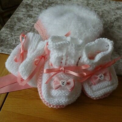 Hand Knitted Baby Girl's Bonnet, Mitts and Bootees 0-3 months size