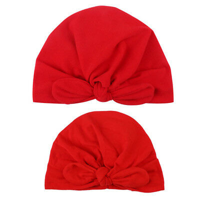 2Pcs Kid Baby Toddler Boy Girl Winter Knit Warm Beanie Hat Turban Knot Cap 6A