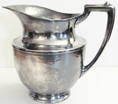 VTG c1930 Hammered silver plate water pitcher #965 Meriden S.P International 8""