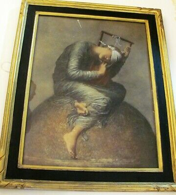 "Antique VTG 1920's ""Hope"" GEORGE FREDERIC WATTS Print in Frame 19 1/2"" x 15 1/2"""