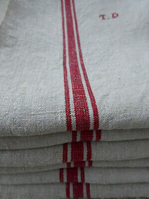"RARE SET of 6 ANTIQUE FRENCH LINEN RED STRIPES TEATOWELS ""TD"" - NEVER USED"
