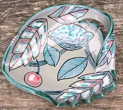 Old Vintage Retro Midcentury Modern Italian Art Pottery Hand Painted Dish Bowl