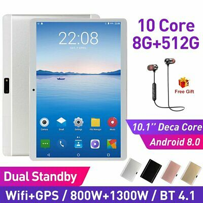 10.1 Inch Bluetooth Android 8.0 Tablet 8+512GB Phablet Dual Card Phone Call PC