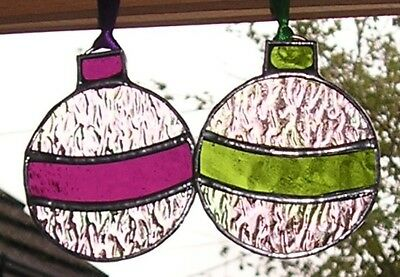 2 Stained Glass Christmas Baubles Decoration, Suncatcher, Handmade in England