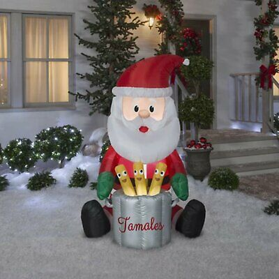 Christmas Inflatable 5.5 Ft ANIMATED SANTA MAKING TAMALES POP UP & DOWN Xmas