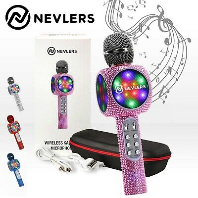 NEVLERS Karaoke Microphone w/ Bluetooth Speaker,Voice Changer & LED Lights- PINK