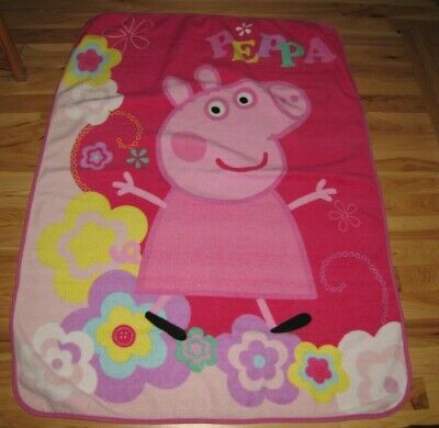 Peppa Pig Pink Flower Throw Blanket Girls Fleece