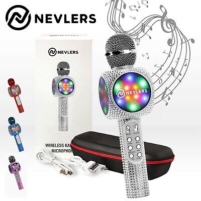 NEVLERS Karaoke Microphone w/Bluetooth Speaker,Voice Changer & LED Lights-Silver