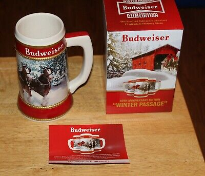 2019 Budweiser Holiday Stein Beer Mug Christmas Collector Series New