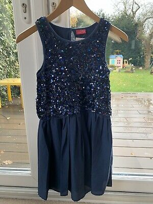 Next Girl's Party Dress With Navy Sequin Embellished, BNWT, Age 10