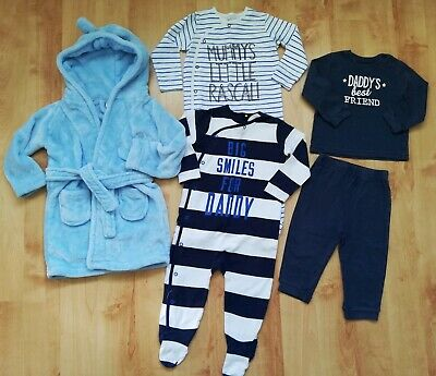 Baby Boys Pyjamas/Sleepsuits And Dressing Gown Bundle 12-24 Months, Next,George