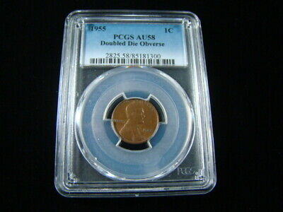 "1955 Lincoln Cent PCGS Graded AU58 ""Doubled Die Obverse Error"" Very Nice"