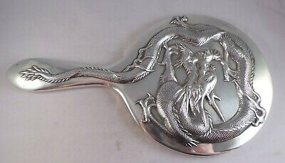 Rare Top Quality Large Antique Chinese Silver Hand Mirror Wang Hing Circa 1900