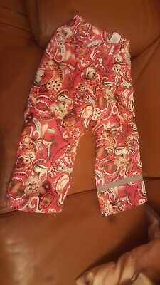 Girls H&M Pink Pattern Winter Padded Snow Trousers Size 3-4 Years VGC