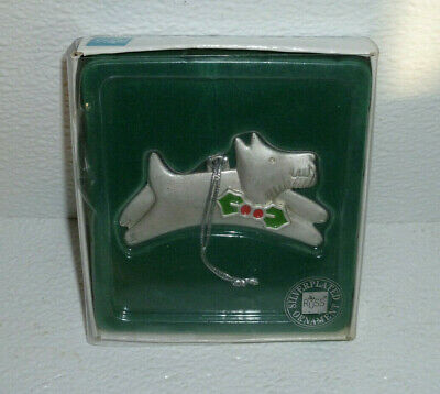 Russ Scottie Dog Ornament Silverplated In Box Scottish Terrier Pewter