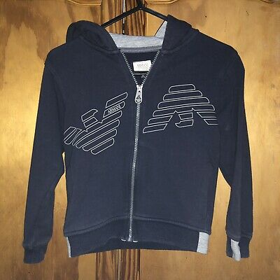 Aj Armani Jeans Hoody Age 6 Navy Authentic Great Condition