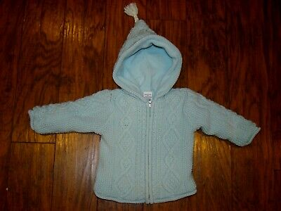 Baby Gap Light Blue Cable Knit Hooded Fleece Lined Sweater Jacket Sz 6-12 Month