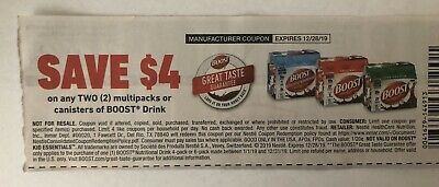 10 $4 Ensure and BOOST Multipack Drink Coupons - expires Dec 28 2019  $40 VALUE!