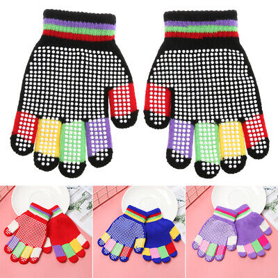 Fashion Kids Winter Gloves Boys Warm Knitted Mittens Full Finger Magic Gloves