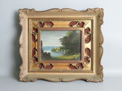 Elegant Frame Perforated Baroque in Wood with Painting Paesaggio Xx Century