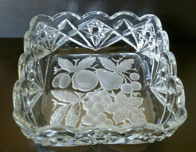 Vintage Czech Bohemian Art Glass Bowl Hand Cut And Etched With Fruit