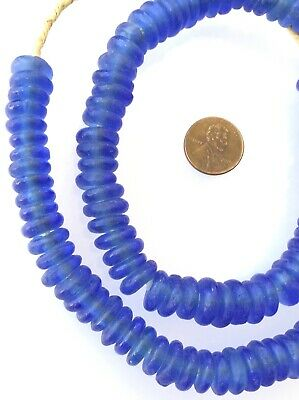 Blue transparent disk Krobo Recycled Glass African trade beads-Ghana Free Shipin