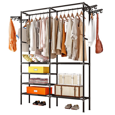 Heavy Duty Garment Clothes Hat Rail Metal Rack Home Shop Hanging Display Stand