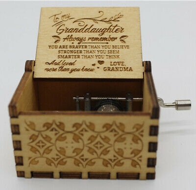 Kids Birthday Xmas Gifts Musical Toys Retro Wooden Music Box Hand Crank Engraved