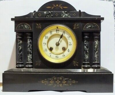 Antique Scottish Victorian/Edwardian Slate Mantle Clock