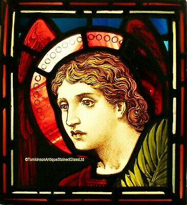 Antique LEADED Painted STAINED GLASS - Archangel St Micheal - We Ship Worldwide