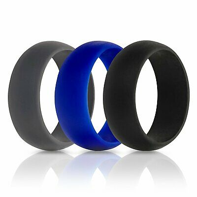 Silicone Rubber Ring Band Size 6-12 Men Women Sports Fitness Jewelry Wedding