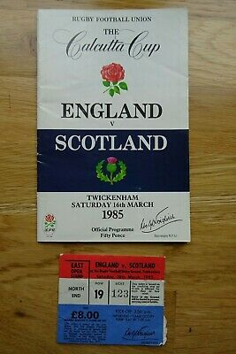 1985 England v Scotland Rugby Union Programme & Used Ticket - Five Nations