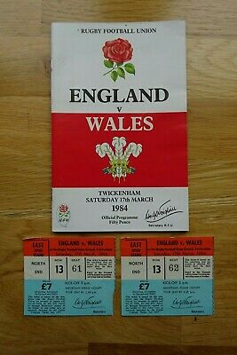 1984 England v Wales Rugby Union Programme & Used Tickets - Five Nations
