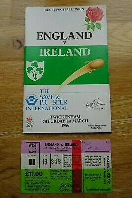 1986 England v Ireland Rugby Union Programme & Used Ticket - Five Nations