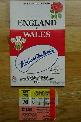1986 England v Wales Rugby Union Programme & Used Ticket - Five Nations