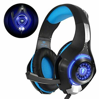 Beexcellent Gaming Headset für PS4 PC Xbox One, LED Licht Crystal (Blue)