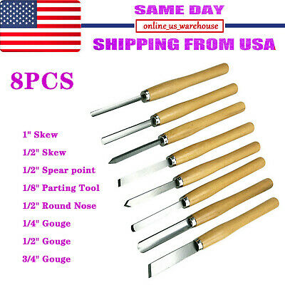 New 8Pcs Wood Lathe Chisel Set Turning Tool Woodworking Gouge Skew Parting Spear